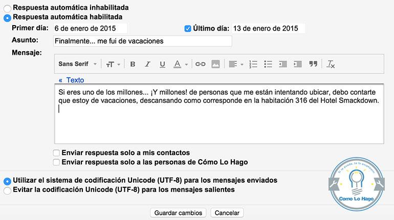 Cómo generar auto respuesta de vacaciones en tus correos