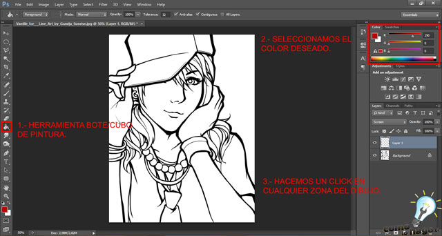 Cómo colorear un lineart en Photoshop