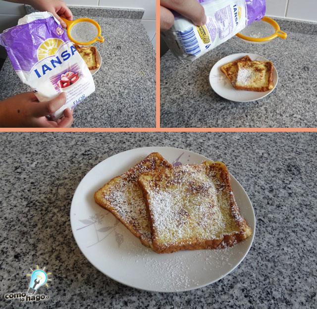 Agregando azucar flor - Cómo hacer tostadas francesas