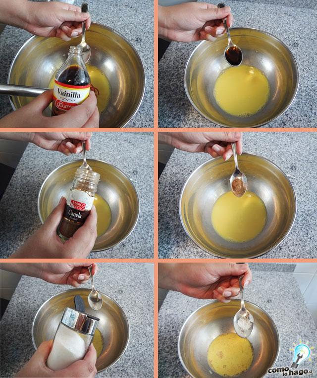 Agregando vainilla - Cómo hacer tostadas francesas
