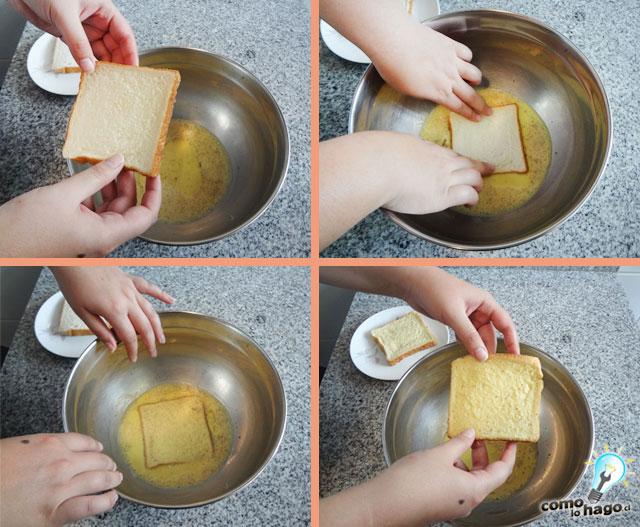 Remojando las tostadas en la mezcla - Cómo hacer tostadas francesas