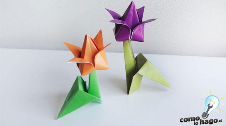 Como hacer un tulipán de origami