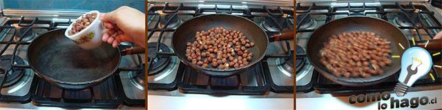 Dorando las avellanas - Cómo hacer nutella casera
