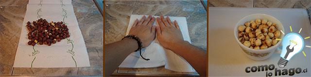 Pelando las avellanas - Cómo hacer nutella casera