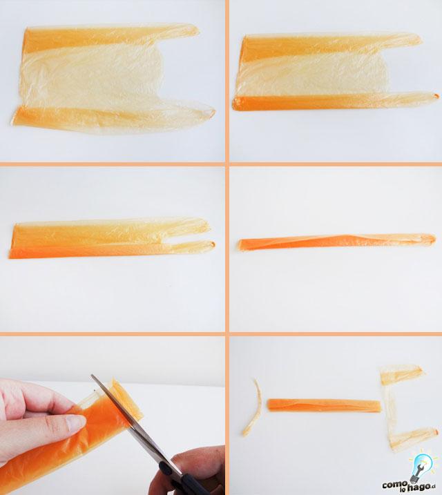 Cortando bolsas - Cómo hacer hilo plástico casero – Parte 2