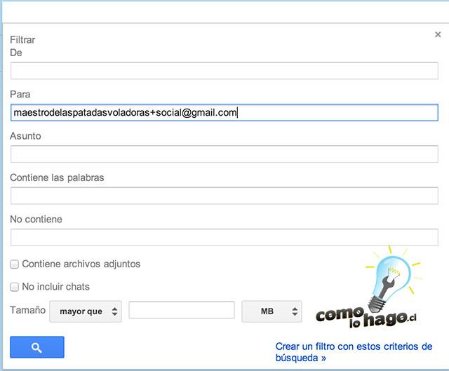 Creación de filtros - Cómo crear comodines con tu correo electrónico de Gmail