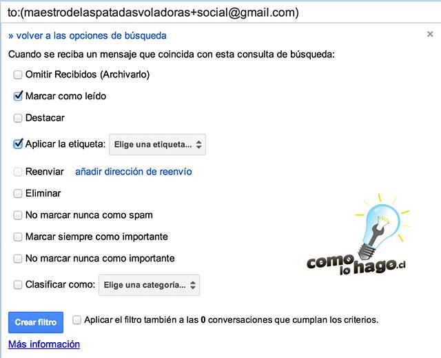 Configuración de filtros - Cómo crear comodines con tu correo electrónico de Gmail