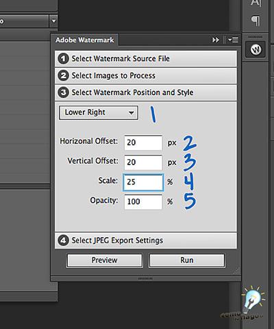 Selección de tamaño y ubicación - Cómo marcar tus fotos automáticamente en Photoshop