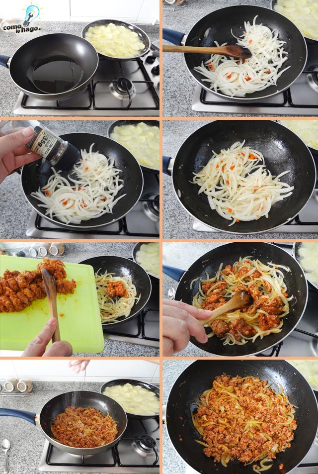 Dorando la cebolla - Cómo hacer una tortilla española