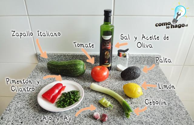 Ingredientes - Cómo hacer un pebre de zapallo italiano