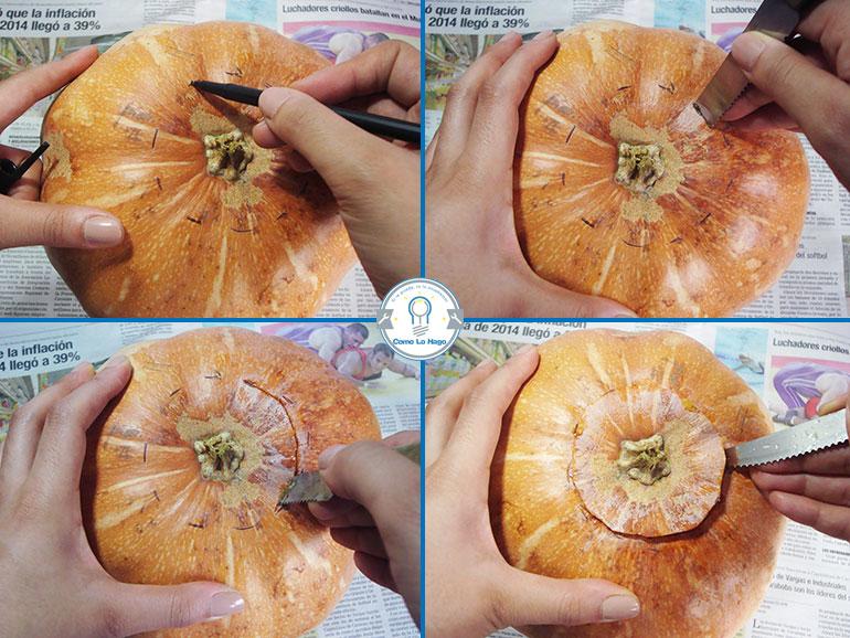 Marcando y abriendo la calabaza - Cómo hacer una calabaza tallada (Jack-o-Lantern)