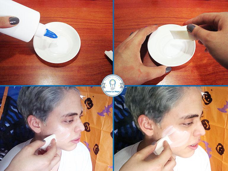 Aplicando cola fría - Cómo hacer un maquillaje de rasguño zombie