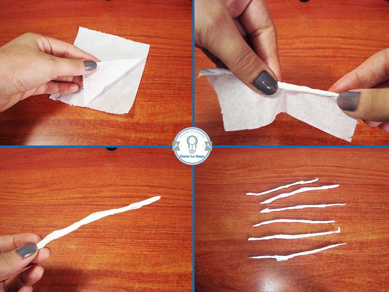 Haciendo tiras de papel - Cómo hacer un maquillaje de rasguño zombie