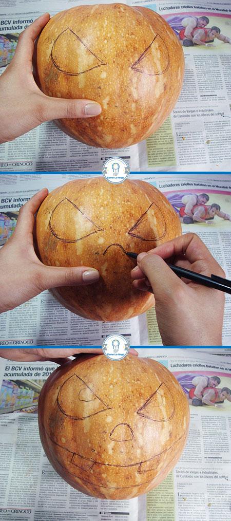 Dibujando la calabaza - Cómo hacer una calabaza tallada (Jack-o-Lantern)