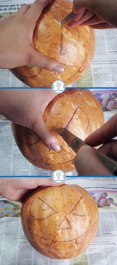 Cortando la cara de la calabaza - Cómo hacer una calabaza tallada (Jack-o-Lantern)