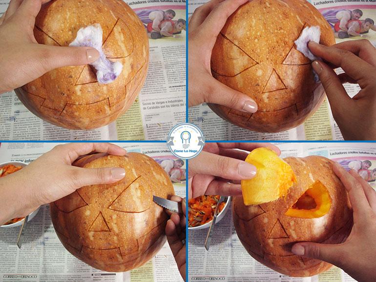 Terminando la cara - Cómo hacer una calabaza tallada (Jack-o-Lantern)