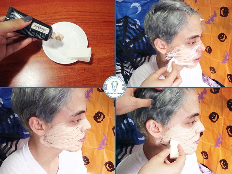 Aplicando base de maquillaje - Cómo hacer un maquillaje de rasguño zombie