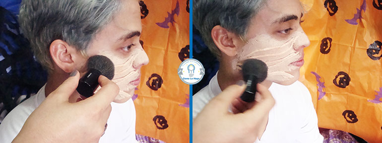 Sellando la base de maquillaje - Cómo hacer un maquillaje de rasguño zombie
