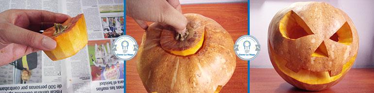 Colocando la tapa - Cómo hacer una calabaza tallada (Jack-o-Lantern)