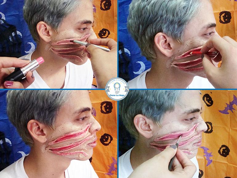Pintando la herida - Cómo hacer un maquillaje de rasguño zombie